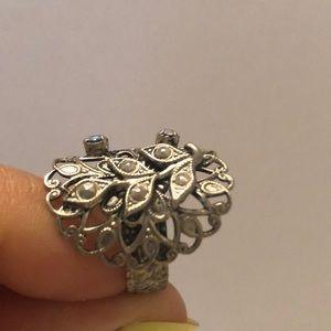 Vintage marcasite & crystal silver ring